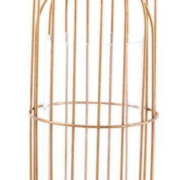 Birdcage Candle Holder Lg Gold