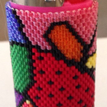 Handmade Art Deco Strawberry Beaded Bic Lighter Cover