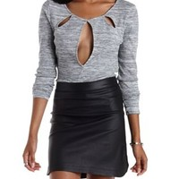 Keyhole Cut-Out Long Sleeve Crop Top by Charlotte Russe