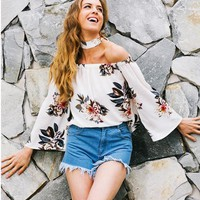 Off Shoulder Print Trumpet Sleeves Crop Top
