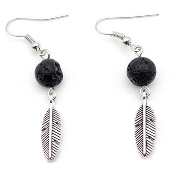 Antique Silver Plated Feather Charms with Lava stone Essential Oil