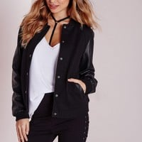 Missguided - Faux Leather Sleeve Bomber Jacket Black