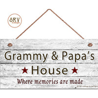 "Grammy & Papa's House Sign, Where Memories Are Made, Distressed Wall Art, Gift For Grandparents, Weatherproof, 5"" x 10"" Sign, Made To Order"