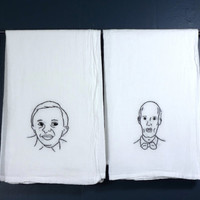 Twin Peaks, Man From Another Place and The Giant - Hand Embroidered Tea Towel, Set of Two