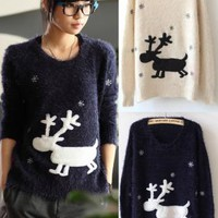 Cartoon Deer & Snowflakes Fluffy Sweater