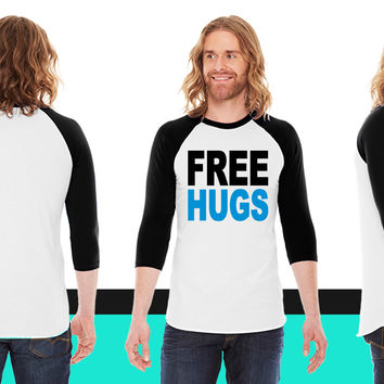 Free hugs1 American Apparel Unisex 3/4 Sleeve T-Shirt