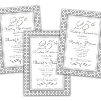 25th Wedding Anniversary Invitation - Surprise Anniversary Party Invitations -  Vow Renewal - Art Deco - Silver Ornate - Printed Elegant
