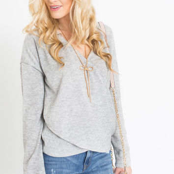 Rosalie Grey Surplice Top
