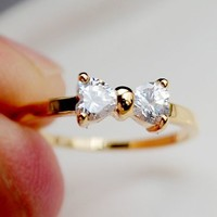Simply Bow Rhinestone Ring