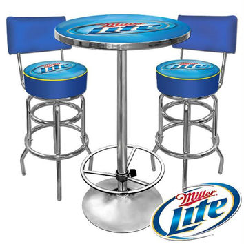 Ultimate Miller Lite Gameroom Combo 2 Stools w- Back & Table
