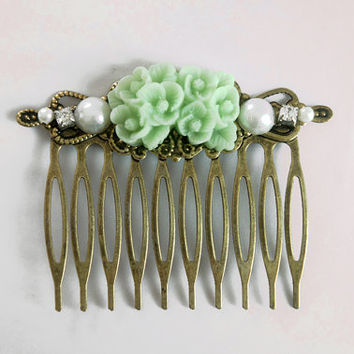 Mint Flower Rhinestone Collage Comb - OOAK Victorian Style Shabby Chic Flower Collage Hair Comb - Purple - VCC013