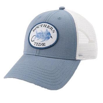 Skipjack Fly Patch Washed Trucker Hat in Ash Blue by Southern Tide