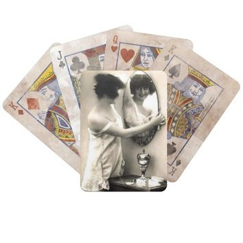 Mirror Mirror Vintage Pin-Up Girl Playing Cards