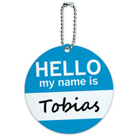 Tobias Hello My Name Is Round ID Card Luggage Tag