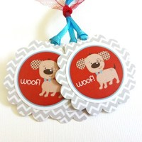 Dog Gift Tags with Chevron Motif