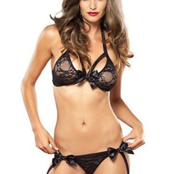 MDIGH3W 2PC.Strappy lace bra top and garter g-string w/Satin bow in BLACK