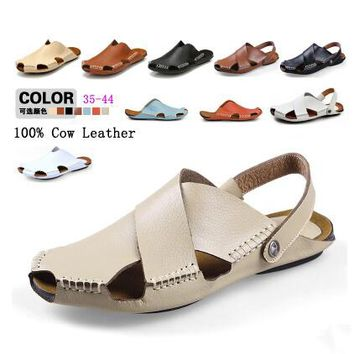 Pop Summer Handmade Sewing Genuine Leather Man Slippers Fashion Classic Toe Cap Covering Beach Sandals Shoes For Men Size 28-66