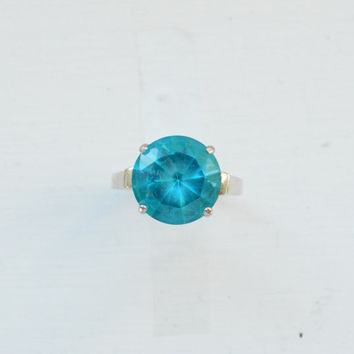 Brilliant Blue Topaz Ring - Sterling Silver Ring - Bezel Ring - Tapered Ring - Cocktail Ring - Minimalist Ring - Thin Ring Band