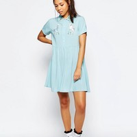 Lazy Oaf Button Front Shirt Dress With Retro Bird Print