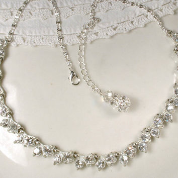 TRUE Vintage Art Deco Clear Rhinestone Link Necklace, Crystal Leaves Old Hollywood Silver Flapper Statement Necklace Great Gatsby Jewelry