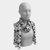 Gray and black diamonds Long Scarf