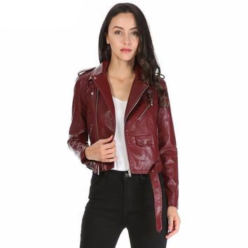 Women's Faux Leather Zip Up Jacket