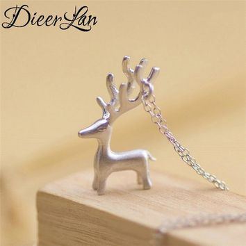 Lovely Deer 925 Sterling Silver Necklaces Pendant For Women Fashion sterling-silver-jewelry