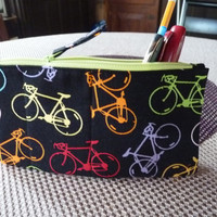 Handcrafted Bicycle  Zipper Pencil Case/ Pouch/ Gadget Bag