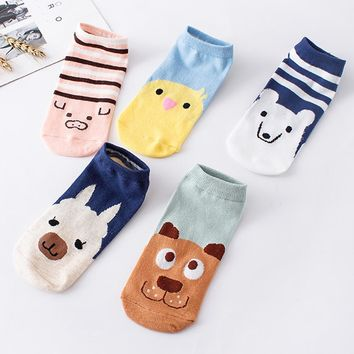 1Pairs Women Funny Socks Elasticity Comfortable Cartoon Animal Partten Cute Sock Slippers Short  Ankle Socks