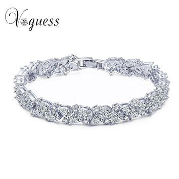 VOGUESS   Luxury Bridal Bracelet AAA White Cubic Zircon Genuine Austrian Crystal Women Bracelet For Wedding Jewelry