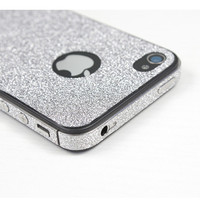 Silver Shiny Rhinestone Full Body Cover Skin Sticker Shield For iPhone 4S/5