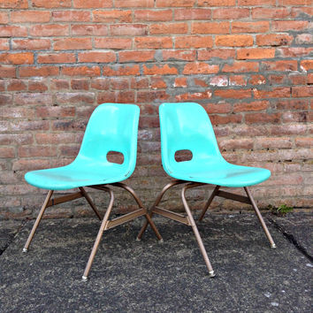 Vintage Mid Century Modern 1960's Childrens Eames Style Chairs Krueger Metal Prod Back to School Green Bay Wisconsin Mod Turquoise Mint Aqua