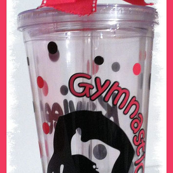 Cute Personalized Gymnastics Cup 16 oz Tumbler with Straw