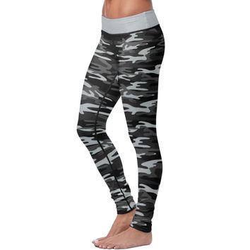 Black and Gray Camo Womens Leggings