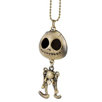 Bronzer Corpse Bride Tim Shaped Pendant Long Necklace (Yellow)