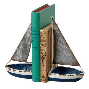 Vintage Galvanized Metal - Sail Boat Bookends