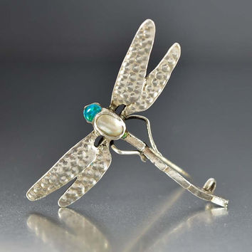 Arts & Crafts Silver Baroque Pearl Enamel Dragonfly Brooch