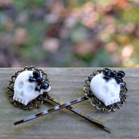 Skulls with Bows Bobby Pin Set 2 by cynicalredhead on Etsy