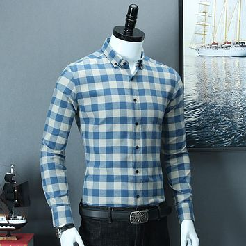 Men's Long Sleeve Plaid Checked Button Down Cotton Shirts Smart Casual Standard-fit Gingham Dress Shirt