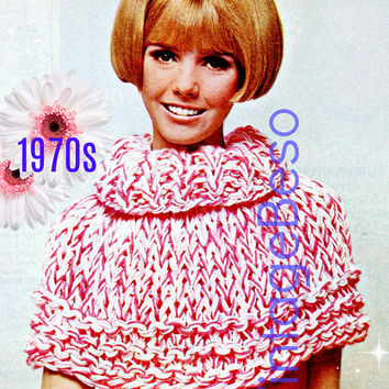 Instant Download • Ladies Peppermint Stick Cape Collar • 1970s Vintage KNITTING Pattern • Womens Retro Sweater Cape • Digital PdF Pattern