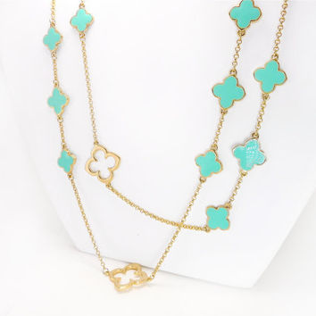 Clover Enamel Necklace - Multi Flower Station Gold Chain Long Necklace Gift for Her - Sale 20% Off Original Price