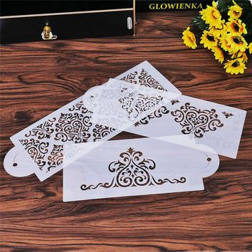 3Pcs Heart Crown Lace Flower Reusable Stencil Airbrush Painting Art DIY Home Decor Scrap booking Album Crafts Free Shipping