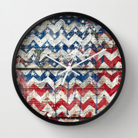 American Chevrons Flag. Wall Clock by Emiliano Morciano (Ateyo)