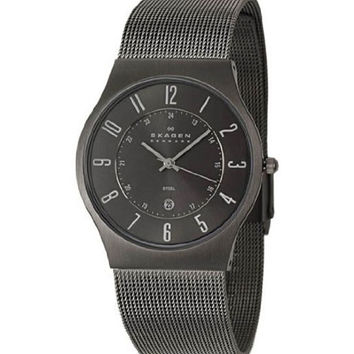 Skagen O233XLSMM Men's Denmark Grey Ion Plated Mesh Bracelet Grey Dial Quartz Watch