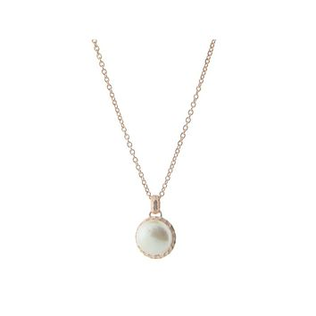 """Hammered Rose Gold Tone Freshwater Coin Pearl Pendant Necklace, 16"""" + 2"""" extension"""