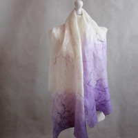 Cobweb Felted Scarf, felt scarf, white, lilac, lavender, art scarf, summer, light, romantic, felted shawl, gift for her, OOAK