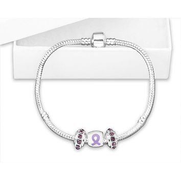 Chunky Charm Lavender Ribbon Bracelet for Cancer