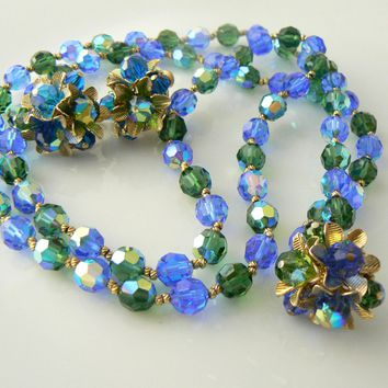 Vendome Crystal Blue Beaded Necklace Earring Set