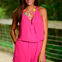 Cross On Over Romper, Hot Pink