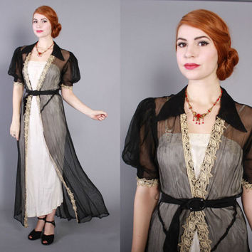 30s Sheer Black Net DRESSING GOWN / Vintage 1930s PEIGNOIR Robe with Puff Sleeves, xs - s